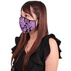 薔薇刺繍レースメッシュマスク パープル